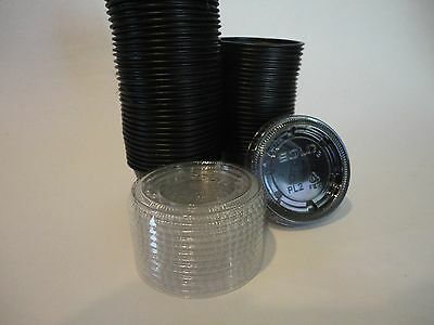 2 oz. Black Souffle Portion Cup with Clear Plastic Lid JELLO SHOTS