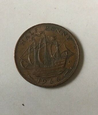 Collectable 1966 Half Penny Penny Coin Old GB British Currency Elizabeth II