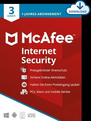McAfee Internet Security 2016/2017/2018 3 Geräte / 1 Jahr (AntiVirus) / KEY