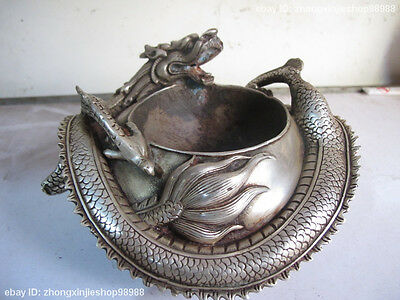 China Folk Classic White Bronze Silver carved Coiled dragon Dragons statuary