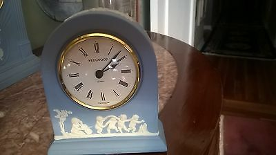 "Blue Wedgwood Jasperware ""Childern Dancing"" Dome Mantel Quartz Clock, 4.75"" Tall"