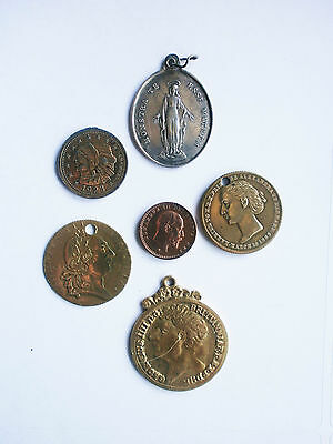 Collection of 18th & 19th Century Gaming Tokens & a Silver Metal Catholic Medal