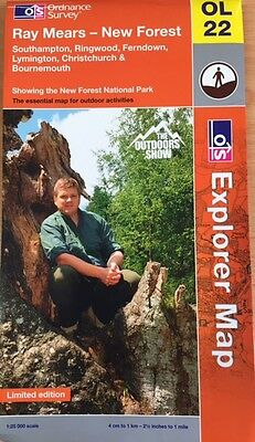 NEW Ordnance Survey OL22 MAP Limited Edition RAY MEARS New Forest National Park