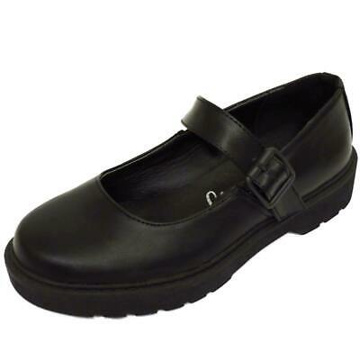 Girls Kids Childrens Buckle T-Bar Black School Pumps Dolly Smart Flat Shoes 10-5