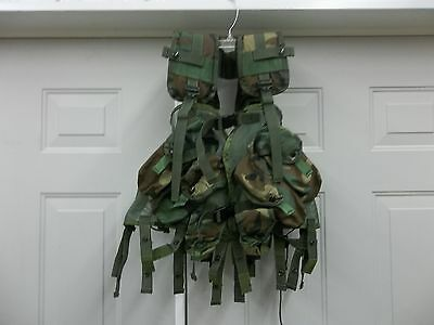 Tactical Load Carrying Vest Woodland Camo Webbing Harness Cargo Molle Mole Used