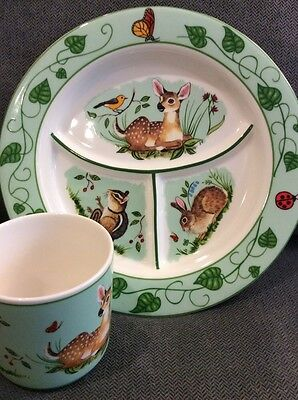 Lynn Chase Designs Forest Friends Child's Set - Divided Plate & Cup