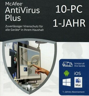 McAfee AntiVirus Plus 2016/2017/2018 - 10-Geräte/1-Jahr *Deutsch* Download / KEY