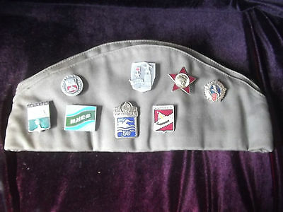 Russian Military Cap with 17x Russian Enamel Badges