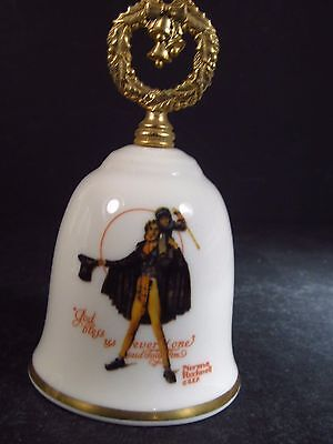 """Norman Rockwell Gorham 1981  TINY TIM PORCELAIN ANNUAL BELL  4"""""""