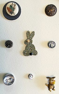 Awesome Card Of 8 Antique & Vintage Rabbit Animal Life Buttons