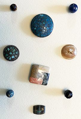 Beautiful Card Of 9 Antique & Vintage Gemstone Buttons Turquoise Lapis Bloodston