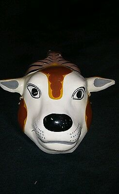 VINTAGE HANDMADE MASQUERADE PAINTED PAPER MACHE antelope/ goat MASK