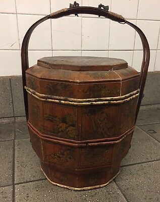 Antique 2 Tier Wooden Chinese Wedding Basket Hand Painted