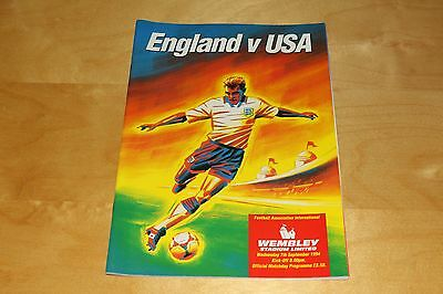 England vs USA at Wembley - Official Programme 7th September 1994