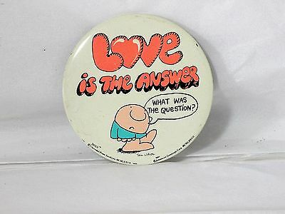 Vintage ZIGGY Button, 'Love Is the Answer' by American Greetings from 1977