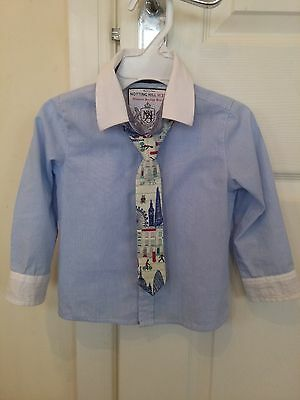 Boys Monsoon 'Notting Hill' Formal Shirt With Tie, blue/white stripe, 18-24 mths