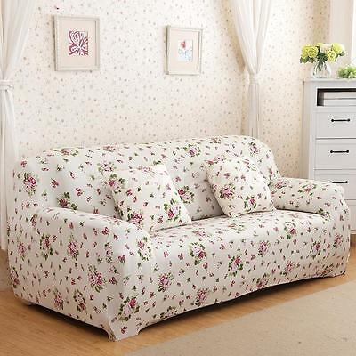 3-Seater Spandex Stretch Slipcover Lounge Couch Sofa Protector Cover Flower #4