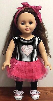 "Madame Alexander 18"" Doll Brunette Brown Eyes- Black White Pink Outfit Set EUC"