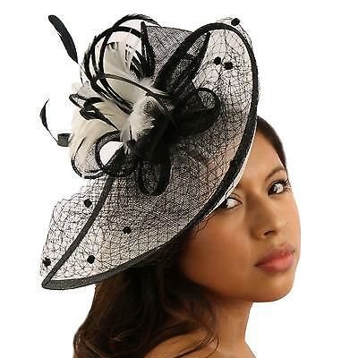 Fancy Feather Fishnet Headband Fascinator Tear Drop Millinery Cocktail Hat Black