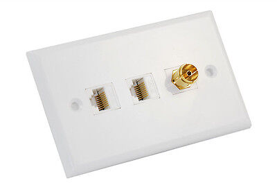 Custom wall plate - 2 x Cat6 RJ45 and 1 x PAL TV antenna