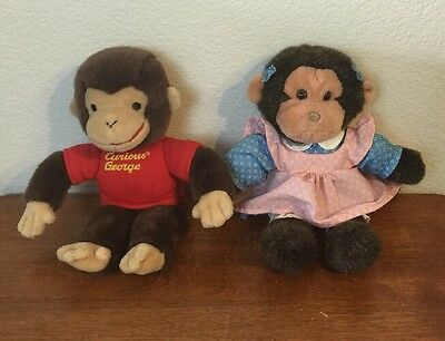 Plush Curious George Toy Stuffed Animal And Girl Monkey Companion Gund