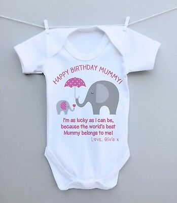 Personalised baby bodysuit vest grow happy birthday mummy daddy nanny from baby
