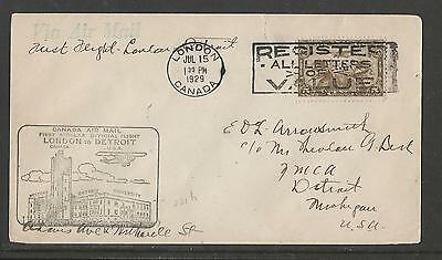Canada 1929 Airmail First Flight Cover London - Detroit
