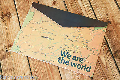 kawaii envelope bag We Are the World map A4 thick card file filing PAPER pouch