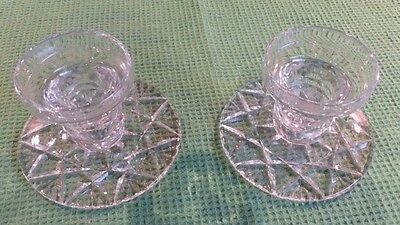 Pair of Stourbridge Cut Glass Candle Holders. Immaculate.