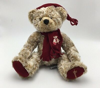 Harrods Teddy Bear Red Scarf Cap Plush Stuffed Toy Vintage 1990's