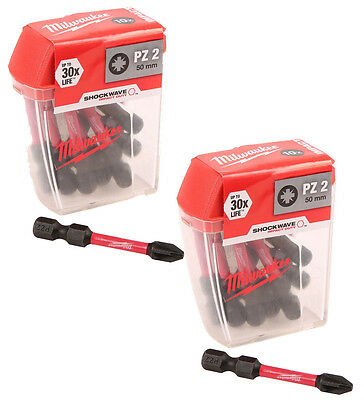 Milwaukee  Shockwave Impact Duty Screwdriving Bits PZ2 50mm 2X Pack of 10