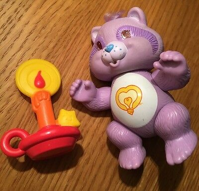 "Vintage 1980s Care Bear Cousin Bright Heart Raccoon Possible Figure 3.5"" Approx"