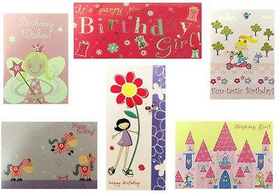 Girls Birthday Cards Pack Of 6 Quality Kids Greeting Cards