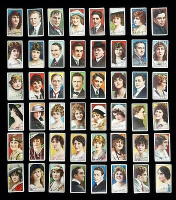 RARE NEAR SET 1916 C93 Imperial Tobacco MOVIE STARS COMPLETE 48/50 CARDS not T82