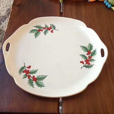 Pickard China Christmas Holly & Berry Holiday Gold Trim Platter