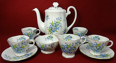 WINDSOR England X1349-6 FORGET-ME-NOT pattern 12-piece DEMITASSE DESSERT SET