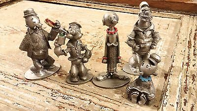 POPEYE OLIVE Oyl Wimpy Sweet Pea Brutus Bluto pewter figures Spoontiques 1980