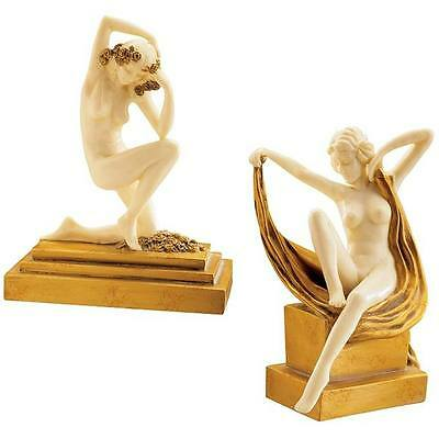 Stunning Art Deco Nude Female Sculptures Faux Marble Gold Gypsy Flapper Dancer