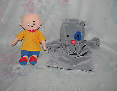Cinar Plush Caillou Doll, & Gilbert Cat Puppet - Grey Cat w/Whiskers Hand Puppet
