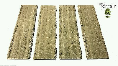 Wargames Scenery Terrain - Desert Roads x 4 - Resin or Rubber Set