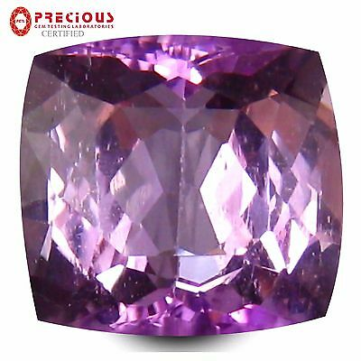 6.90 ct PGTL Certified Fantastic Cushion (11 x 10 mm) Violetish Pink Kunzite
