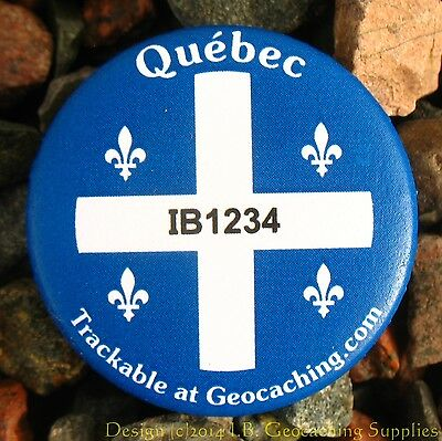 Quebec TRACKABLE Canadian GEOCACHING Button (unactivated)