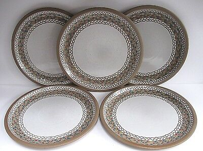 "Midwinter Wedgwood Stoneware ""braid"" Pattern, Set Of Five 10 1/2"" Dinner Plates"