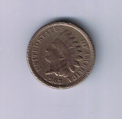 1863 Indian Head Copper Nickel Cent 1C Penny coin CIVIL WAR RELIC UNION