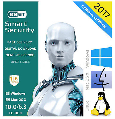 OFFICIAL ESET Smart Security 2017 V10.0 Antivirus 1 USER/PC 5 Year Licence