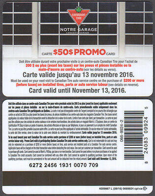 $50.00 Promo card from Canadian Tire #4009867 - 09/16 - NO VALUE ON CARD