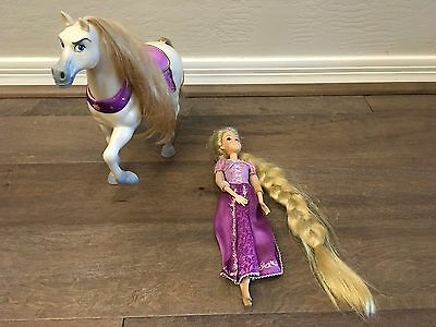 """Disney Store 12"""" Tangled Rapunzel  Doll  Tinsel Hair with HORSE"""