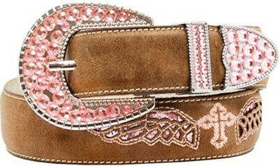 Blazin Roxx Western Girl Belt Kids Cross Wings Brown N4433602