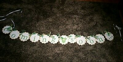 """Gender neutral """"coming soon..."""" baby announcement banner maternity photo banner"""