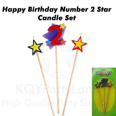3 Piece Age 2 Birthday Candle Set Stick Star Candle Birthday Party Cake Topper